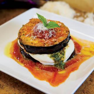 Eggplant, Mozzarella and Pesto Gratins recipe