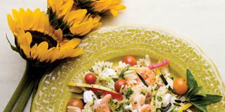 grilled shrimp farfalle with summer vegetables recipe