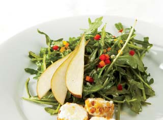Arugula and Pear Salad With Pine Nut-Crusted Goat Cheese Recipe