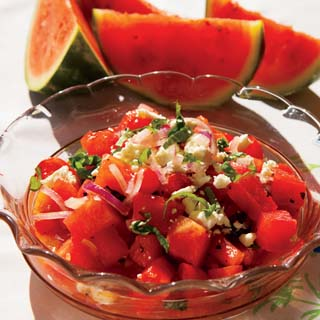 watermelon and tomato, mix with red onions, basil, lime juice and feta ...