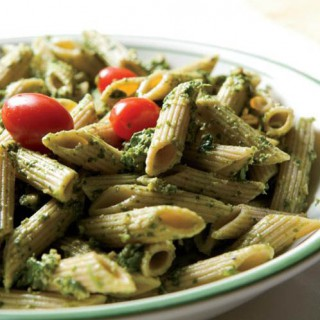 Spinach Arugula Walnut Pesto over Whole Wheat Penne