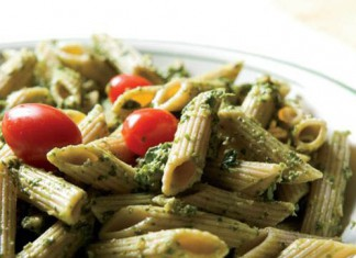 Spinach Arugula Walnut Pesto over Whole Wheat Penne