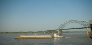 Barge on the Mississippi River in Memphis, TN