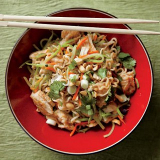Asian Noodles with Rotisserie Chicken and Vegetables Recipe