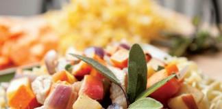 Sweet Potatoes and Pork Over Garlic Egg Noodles Recipe