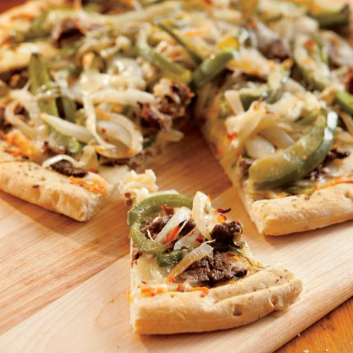 "Quick And Easy ""Philly"" Cheese Steak Pizza Recipe — Dishmaps"