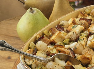 Bread Stuffing with Pears, Bacon and Caramelized Onion Recipe