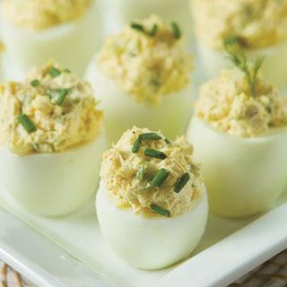 Creamy Three-Onion Deviled Eggs