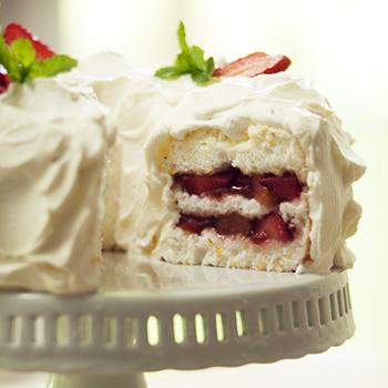 Strawberry-Rhubarb Angel Food Cake | Farm Flavor