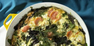 Goat Cheese Frittata with Fresh Greens Recipe