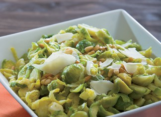 Shredded Brussels Sprouts with Parmesan and Garlic