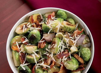 Roasted Brussels Sprouts with Bacon and Parmesan