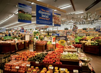 """Produce marketed under """"Georgia Grown"""" at a Kroger grocery store"""