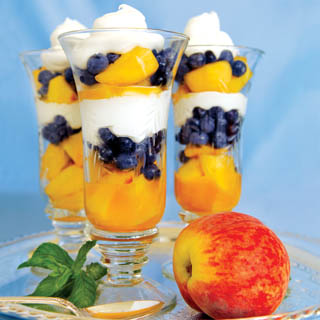 Colorful Peach Parfaits recipe