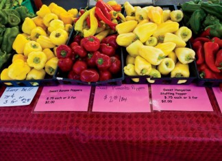 Farmers Markets - red and yellow peppers