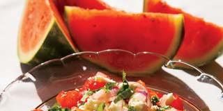 Watermelon Tomato Salad with Feta Cheese Recipe