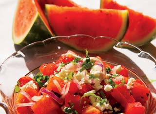 Watermelon Tomato Salad with Feta Cheese Recipe