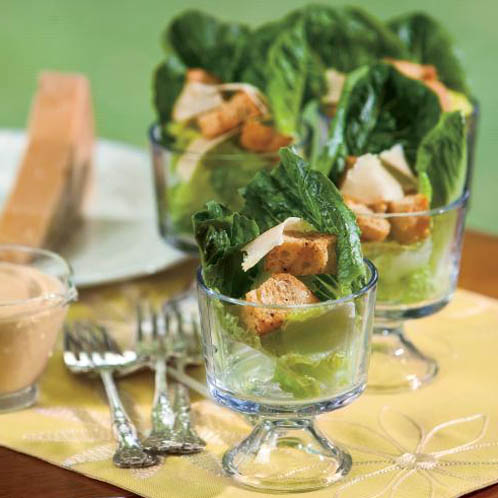 Creamy Caesar Salad In A Glass With Cajun Croutons Farm
