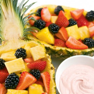 Pineapple Berry Boats With Raspberry Dip