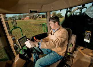 TN Farmer Willis Jepson uses a GPS and autosteer equipped tractor for farming.