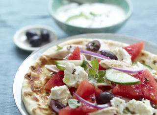 Greek Yogurt Chicken Watermelon Flatbread