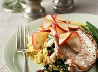 Apple Cranberry Stuffed Pork Chops with Sauteed Apples