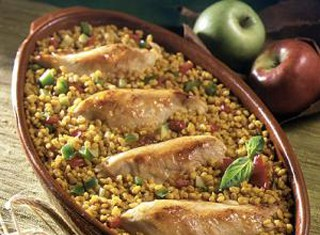 Baked Chicken with Apples and Barley Recipe