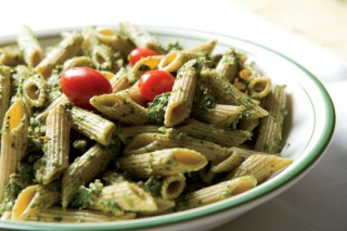 Spinach-Arugula-Walnut Pesto over Whole-Wheat Penne