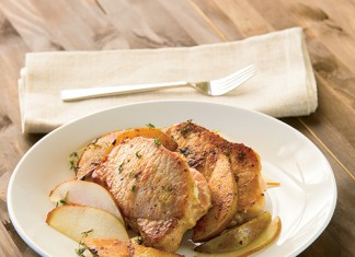 Feta Stuffed Pork Chops with Pears
