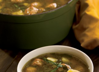Meatball, Potato and Collard Soup