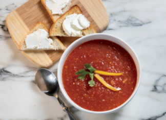 Gazpacho with Goat Cheese Toast