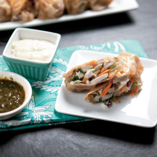 Pork Loin Summer Roll with Green Curry Dipping Sauce