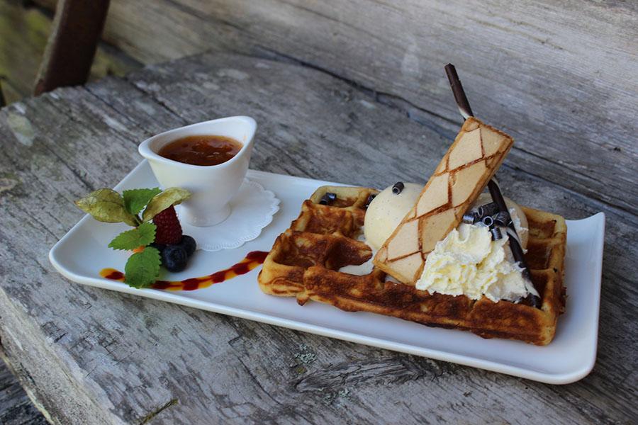 cloudberries on waffle